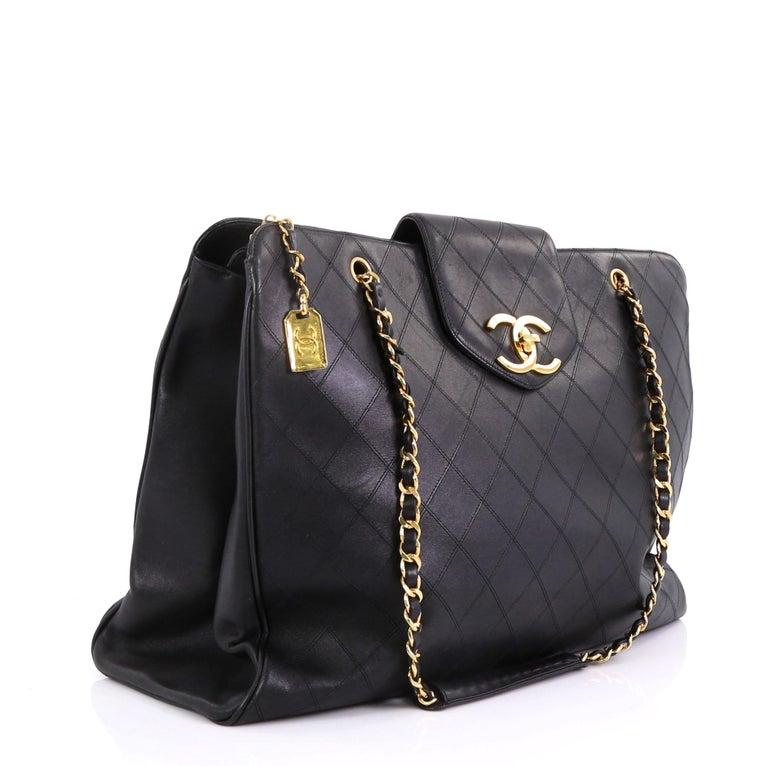 ecfd6e1ca19eab Black Chanel Vintage Supermodel Weekender Bag Quilted Leather Large For Sale