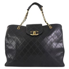 Chanel Vintage Supermodel Weekender Bag Quilted Leather Large