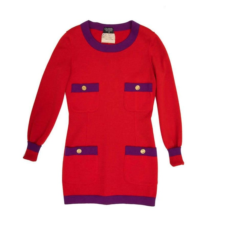 CHANEL Vintage Sweater and Skirt Set in Red Wool with Purple Borders Size 38FR