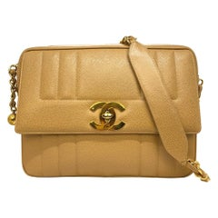 Chanel Vintage Tan Caviar Leather Camera Crossbody Bag with Gold Hardware