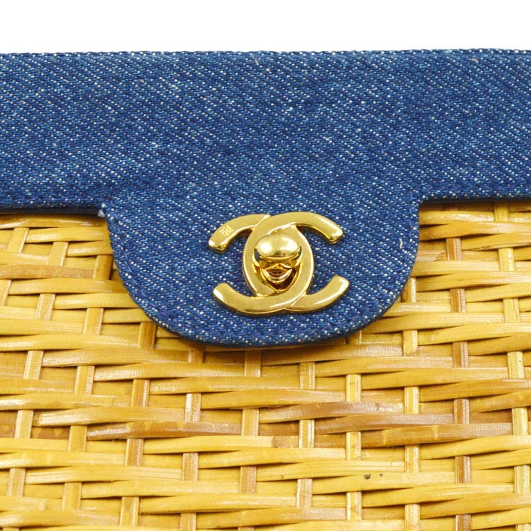 Chanel Vintage Tan Wicker Denim Picnic Lunch Bucket Shoulder Flap Small Bag  Wicker Denim Gold tone hardware Leather lining Date code present Made in Italy Shoulder strap drop 19