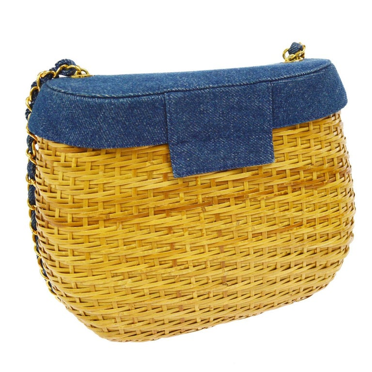 Brown Chanel Vintage Tan Wicker Denim Picnic Lunch Bucket Shoulder Flap Small Bag For Sale