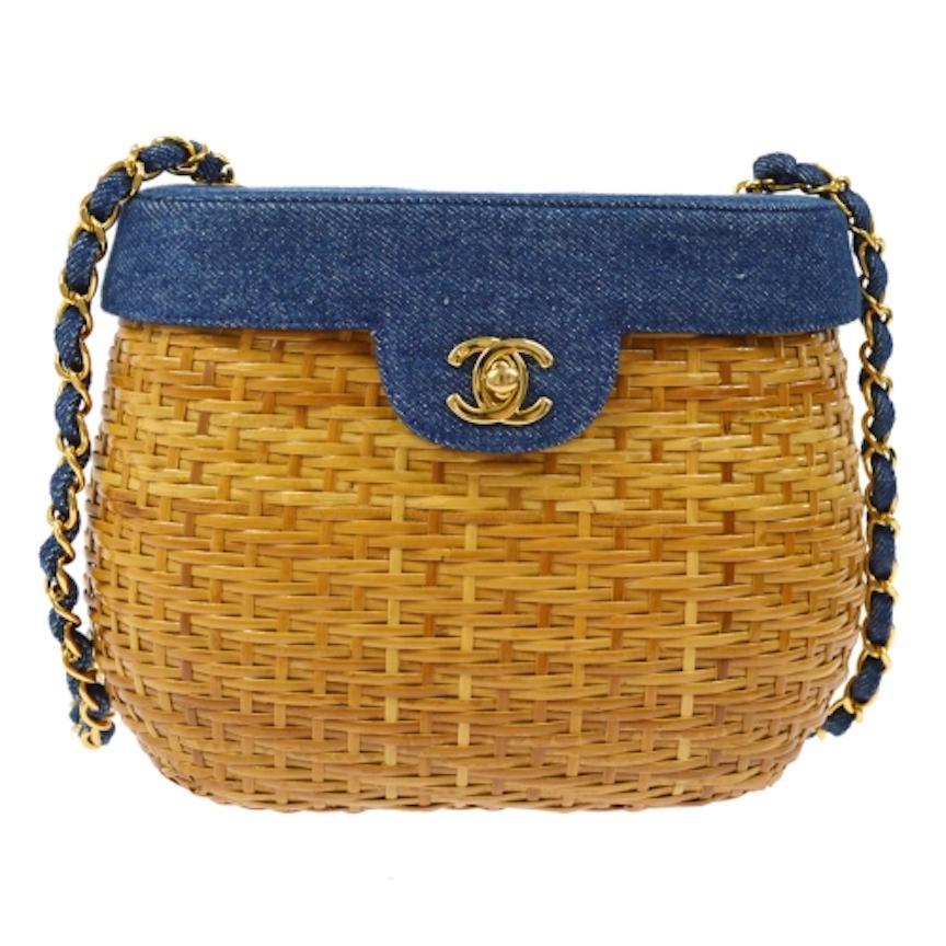 Chanel Vintage Tan Wicker Denim Picnic Lunch Bucket Shoulder Flap Small Bag