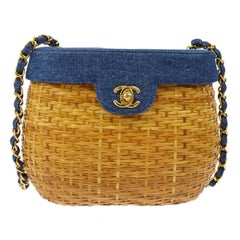 Chanel Vintage Tan Wicker Denim Picnic Lunch Bucket Shoulder Flap Small Bag