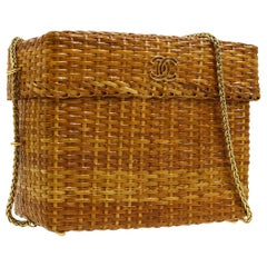 Chanel Vintage Tan Wicker Gold Picnic Lunch Bucket Shoulder Flap Small Bag