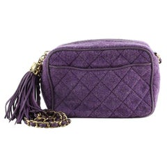 Chanel Vintage Tassel Camera Bag Quilted Tweed Small
