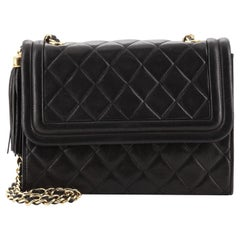 Chanel Vintage Tassel Flap Bag Quilted Lambskin Small
