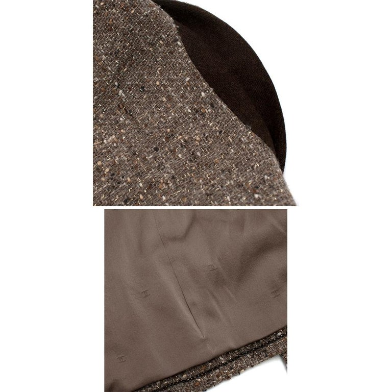 Chanel Vintage Taupe Wool Blend Tweed Jacket - Size US 10 5