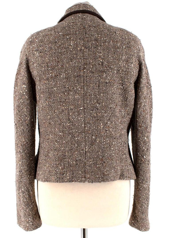 Brown Chanel Vintage Taupe Wool Blend Tweed Jacket - Size US 10