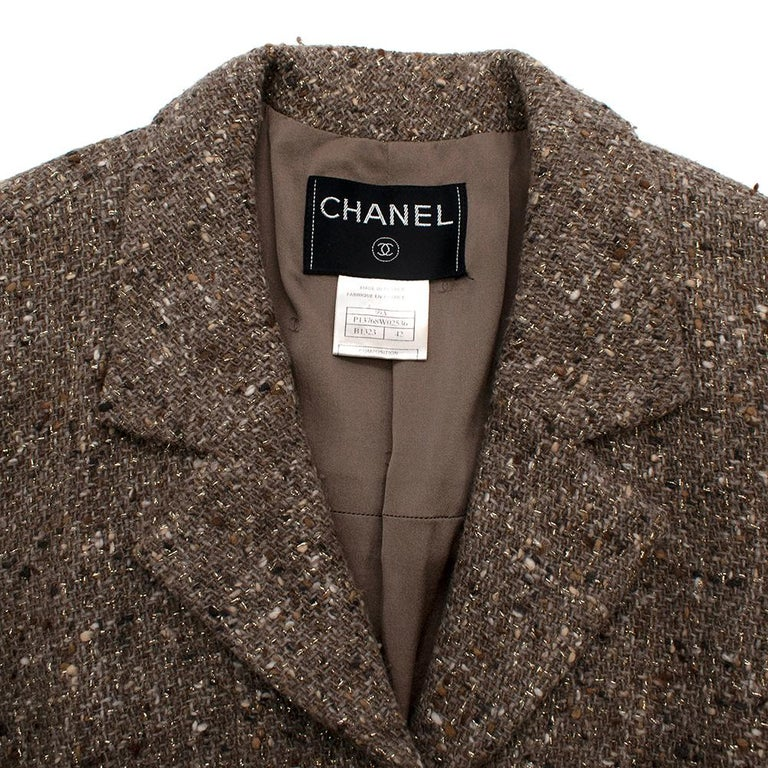 Chanel Vintage Taupe Wool Blend Tweed Jacket - Size US 10 In Excellent Condition In London, GB