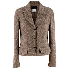 Chanel Vintage Taupe Wool Blend Tweed Jacket - Size US 10