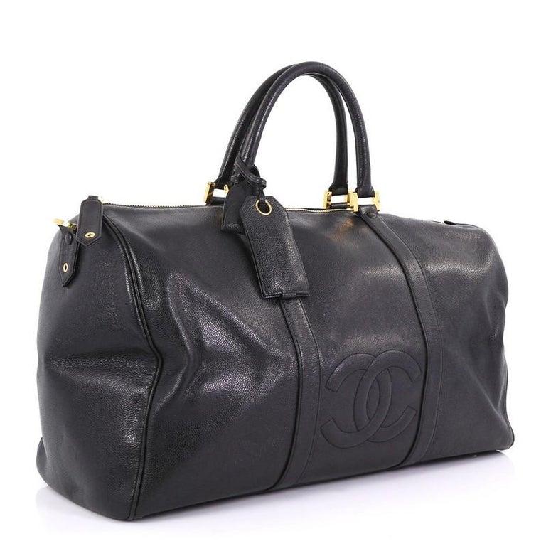 220e9679507cd3 Black Chanel Vintage Timeless Boston Bag Caviar Large For Sale