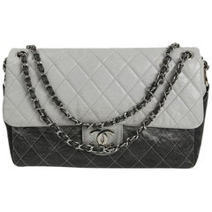 CHANEL Vintage Timeless Flap Bag in Black and Grey Quilted Leather