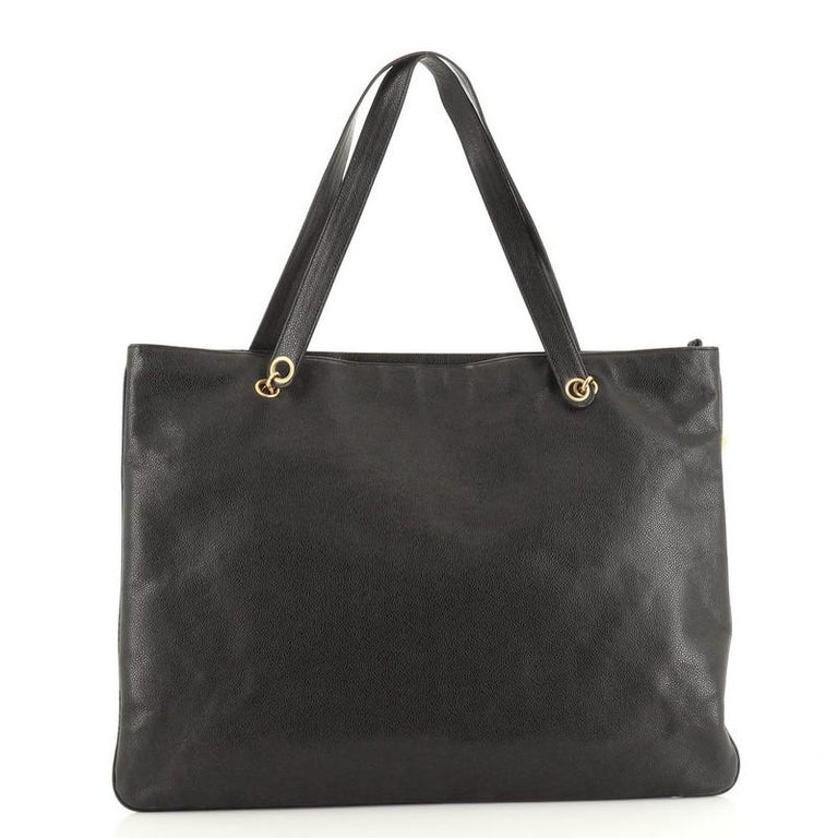 Black Chanel Vintage Timeless Flat Tote Caviar XL For Sale