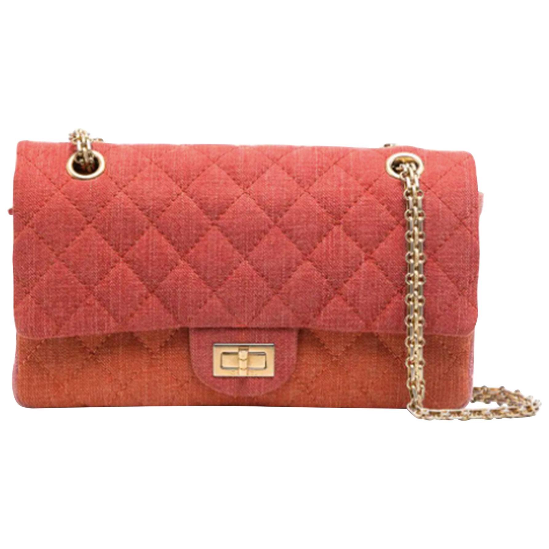 Chanel Vintage Timeless Orange Pink Quilted-Canvas Shoulder Bag