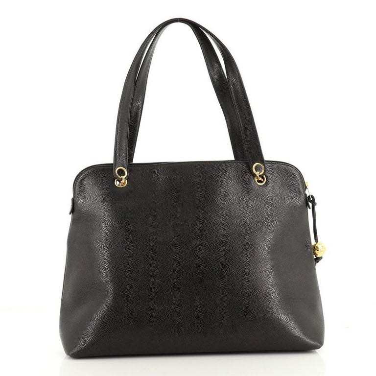 Black Chanel Vintage Timeless Zip Tote Caviar Large For Sale