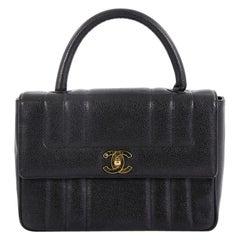 Chanel Vintage Top Handle Bag Vertical Quilt Caviar Medium