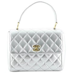 Chanel Vintage Top Handle Flap Bag Quilted Lambskin Small
