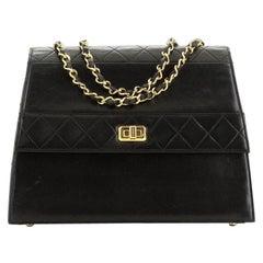 Chanel Vintage Trapezoid CC Flap Bag Leather Medium