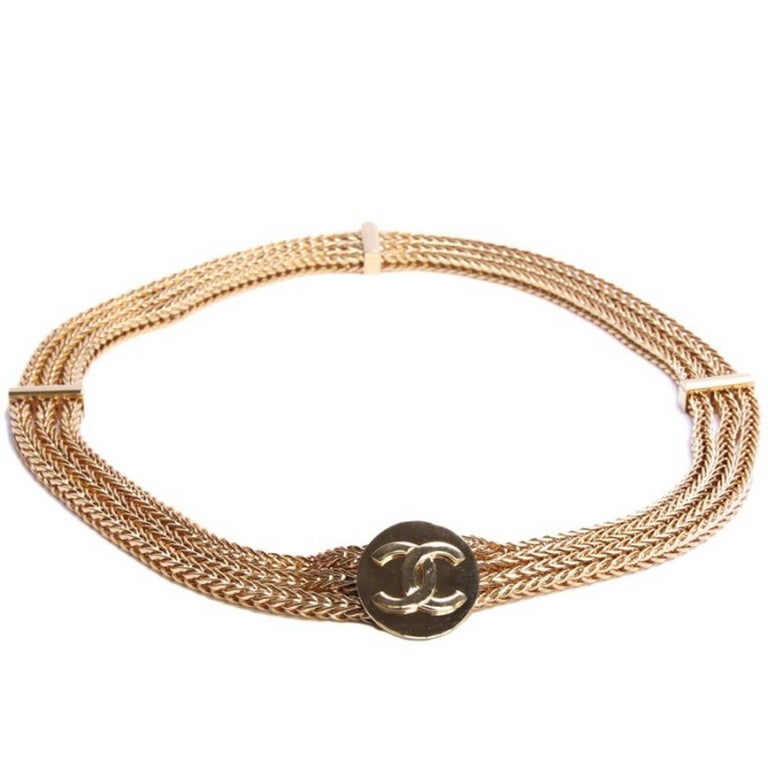 Brown Chanel Vintage Triple Golden Chain Belt Size 70EU For Sale