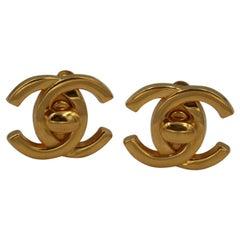 Chanel Vintage Turnlock  Logo Earrings
