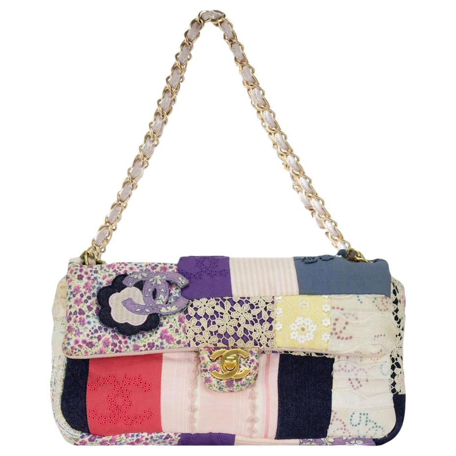 Chanel Vintage Tweed Rare Limited Edition Patchwork Small Classic Flap Bag