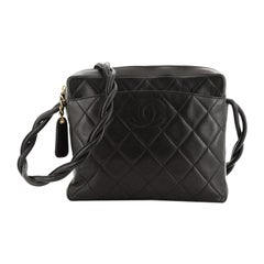 Chanel Vintage Twisted CC Camera Shoulder Bag Quilted Lambskin Small