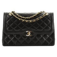 Chanel Vintage Two Tone Envelope Flap Bag Quilted Lambskin Medium