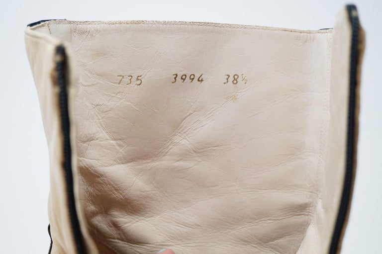 Chanel Vintage Two-Tone Lambskin Heeled Boots, circa 1960, Handmade in France For Sale 7