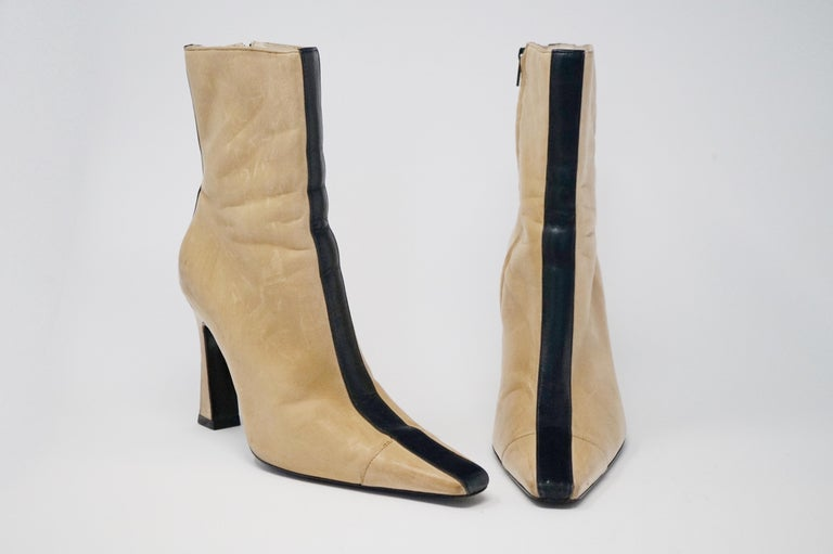 Beige Chanel Vintage Two-Tone Lambskin Heeled Boots, circa 1960, Handmade in France For Sale