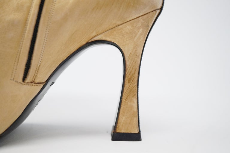 Chanel Vintage Two-Tone Lambskin Heeled Boots, circa 1960, Handmade in France For Sale 4