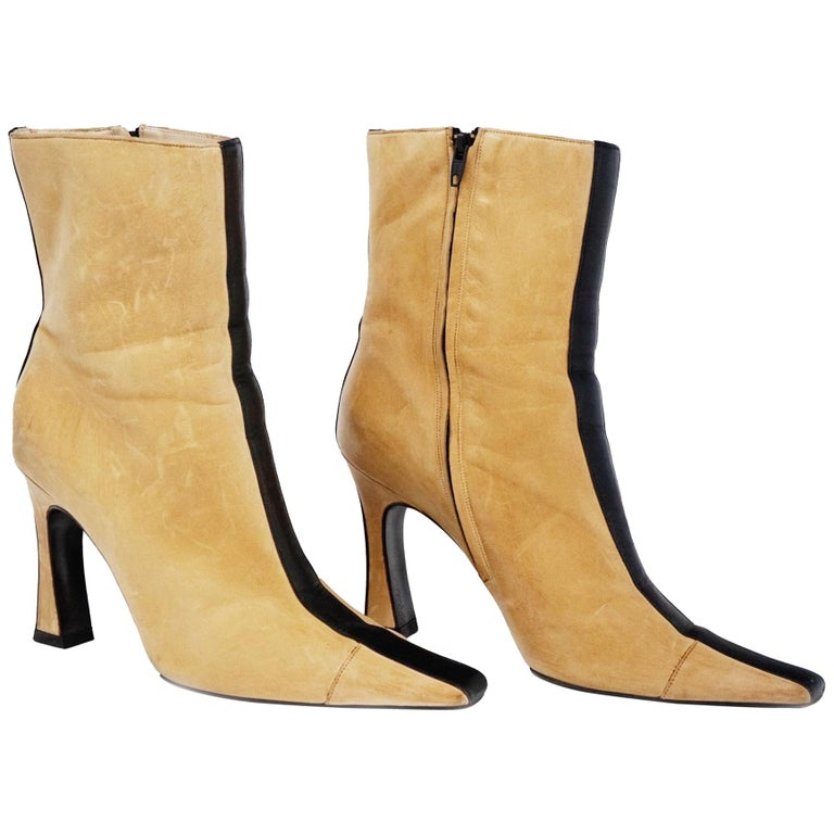 Chanel Vintage Two-Tone Lambskin Heeled Boots, circa 1960, Handmade in France For Sale