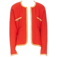 CHANEL Vintage vermillion red wool tweed orange trim dolman sleeve jewel jacket