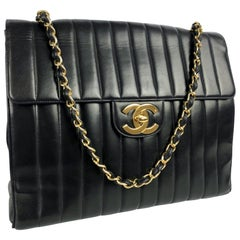 Chanel Vintage Vertical XL Jumbo Maxi Classic Flap Shoulder Bag