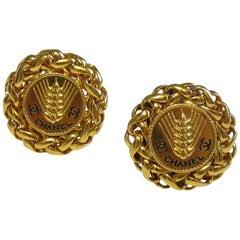 Chanel Vintage Wheat Ears Gold Tone Clip On Earrings CC Logo