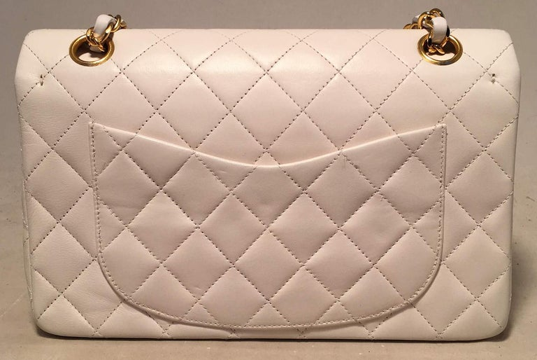 457aa10bd45c95 Chanel Vintage White 9 inch 2.55 Double Flap Classic Shoulder Bag In  Excellent Condition For Sale