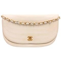 Chanel Vintage White Lambskin Leather Crescent Flap Shoulder Bag