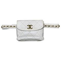 Chanel Vintage White Leather Belt Bag