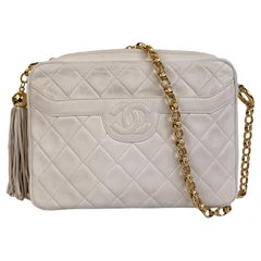 Chanel Vintage White Quilted Leather CC Stitch Camera Bag