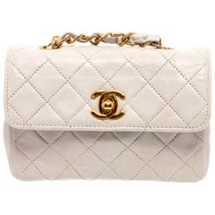 Chanel Vintage White Quilted Leather Micro Flap Bag