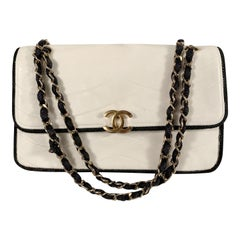 Chanel Vintage White Quilted Leather Shoulder Bag with Cord Trim