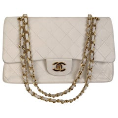 Chanel Vintage White Quilted LeatherTimeless Classic Bag