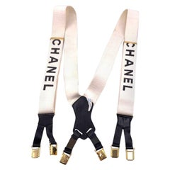 CHANEL Vintage White Suspenders