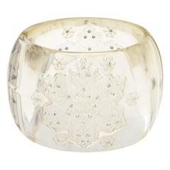 "Chanel Vintage Wide Cuff Bracelet 1995 Snowflake Lucite Rhinestone Crystal 2"""