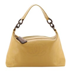 Chanel Vintage Wood Chain CC Shoulder Bag Caviar Large