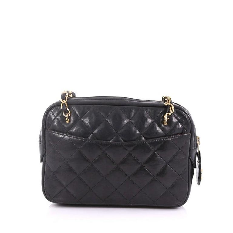 5ec94bd4997c Chanel Vintage Zip Chain Shoulder Bag Quilted Leather Small In Good  Condition For Sale In New