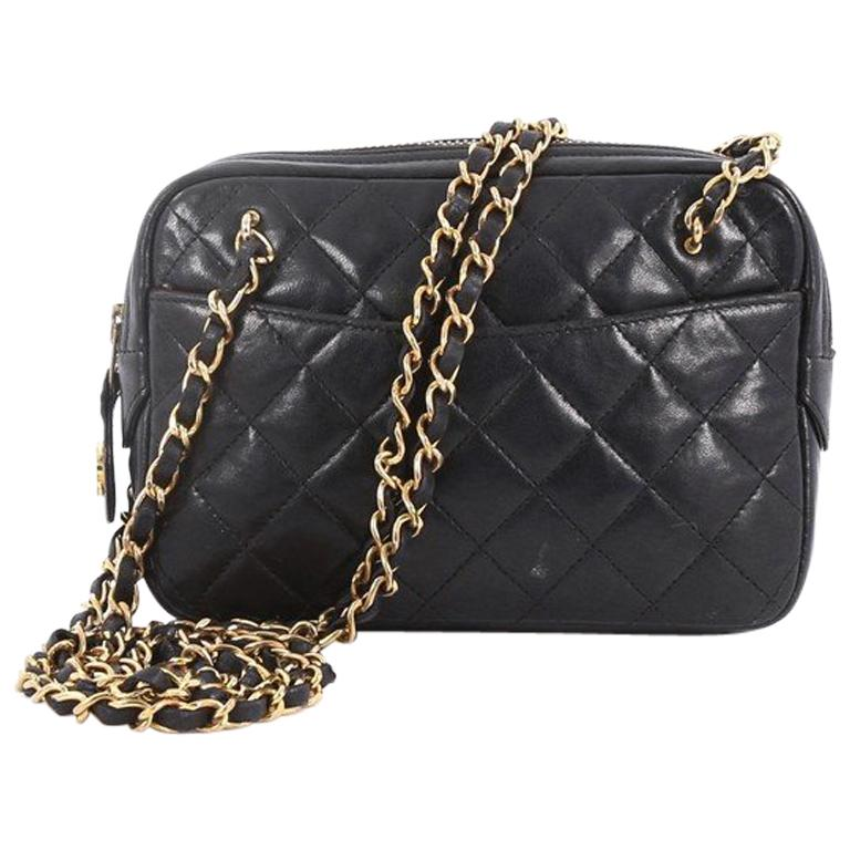 9c0ae4938538 Chanel Vintage Zip Chain Shoulder Bag Quilted Leather Small For Sale ...