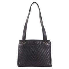 Chanel Vintage Zip Shoulder Bag Chevron Caviar Medium