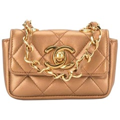Chanel Waist Classic Flap Rare Vintage 90s Limited Edition Micro Mini Bronze Bag