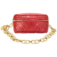 Chanel Waist Fanny Pack Vintage Rare Gold Chain Collector's Piece Red Belt Bag
